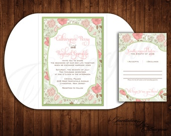 Pink and Green Wedding Invitations, Pink Vintage Wedding Invitations, Pink and Mint Invitations, Peony Roses, Fall Wedding Invitations