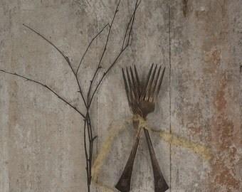 Antique Monogrammed SilverWare. Olde English B. Rustic Wedding Decor. Gift Tag