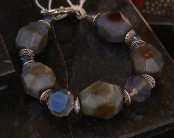 Blue bracelet, bold bracelet, smoky blue, gemstone bracelet, blue and silver, boho bracelet, chunky bracelet, gift for women
