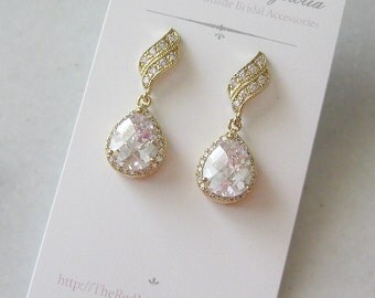 Gold Crystal Earrings, Crystal Bridal Earrings, Rhinestone Earrings, Vintage Style - LAURA