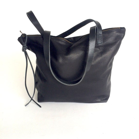 Black Leather Tote Bag with zipper on sale black leather