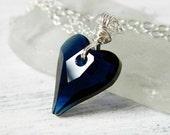 Dark Blue Crystal Heart Necklace Indigo Modern Heart Pendant Sapphire Swarovski Heart Wire Wrapped Sterling Silver Gift Best Friend Wife