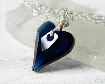 Dark Blue Heart Necklace Indigo Swarovski Crystal Heart Necklace Navy Sapphire Wild Heart Pendant Sterling Silver Wire Wrap Valentine Gift