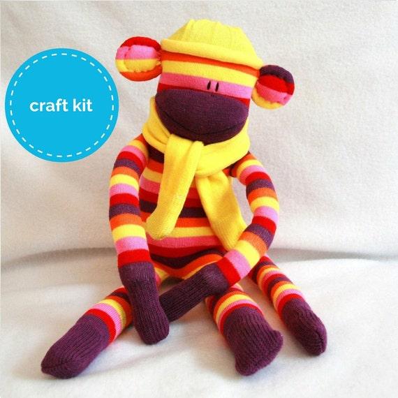 Craft Kit, Sock Monkey Kit - Purple and Yellow Stripes, DIY Pattern
