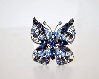 Gorgeous Vintage Blue Butterfly Brooch by Regency
