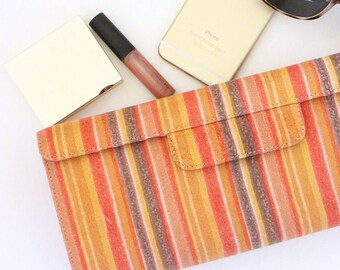 SALE - Leather Clutch / Small Handbag / Purse Clutch- Red Stripes