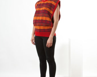 Red Knit Boxy Tank Top / Sleeveless Plaid Sweater / Oversized Open Side Jumper