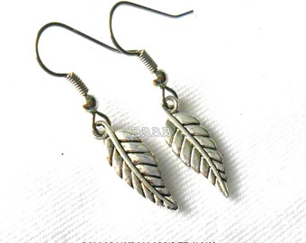 Antiqued Silver Leaf Earrings- Surgical Steel French Hooks