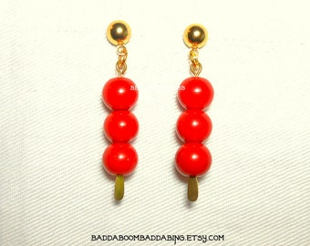 Red Triple Beaded Earrings