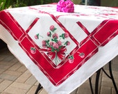 "1950s Red Clover Tablecloth, Pattern ""Clover,"" Ribbons, Pink Clover, Shamrocks, Strong Colors Pink, and Green, 45x44"