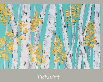 Birch Aspen Tree Wall Art Original Acrylic Painting  60 x 36 h x 1.25  Tripytch gallery Wrapped Canvas ready to ahip