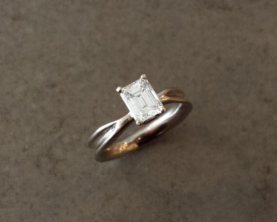 Radiant Moissanite White Gold Engagement Ring - 14k White Gold - Organic, Botanical, Flowing, Nature - Fluid Nature