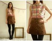Vintage Checked Tartan Printed 90's Sleeveless Shirt Size Small