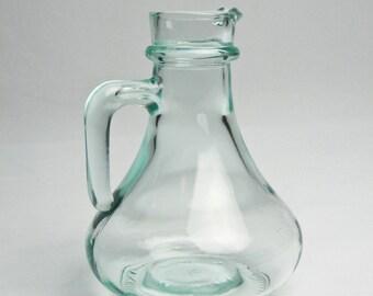 Aqua Glass Six Inch Cruet / Cream Pitcher / Oil and Vinegar / from Italy / Vetreria Etrusca