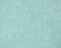 Sky Blue Floral Print, Fashion Fabric, Wamsutta, Small White Flowers, Medium Weight Cotton, half yard, B1
