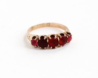 Sale - Antique Victorian 9k Rose Gold Simulated Ruby & Garnet Ring - Red, Pink Glass Stone Hallmarked English Chester 1884 Fine Jewelry