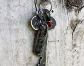 Vintage Industrial Safety Deposit Box Key Necklace With Original Numbered Tag and Black and Red Bead Charm