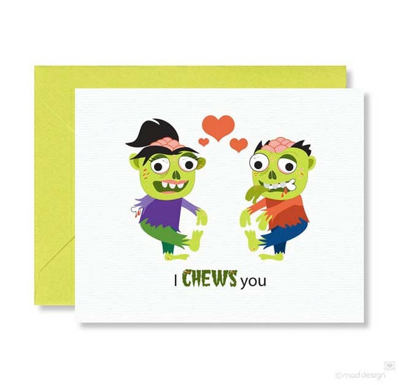 Zombie Love Card / Anniversary / Halloween / Brains / I