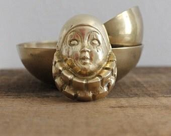 SALE/// brass wall hanging brass clown face