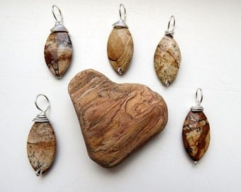 picture jasper pendant. PETRIFIED MUD. brown pendant. natural stone pendant. silver pendant. tan pendant. Capricorn. Aries. Virgo. handmade.