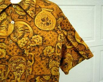 Gold Aloha Shirt Hawaiian Vintage 60s Cotton Kings Road Full Cut XL Cotton