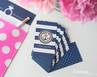 24 Scratch-off Cards  // Bridal Shower Game, Party Game, Bridal Shower Activity, Bachelorette Party Games //  Nautical Stripes