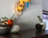 Giraffe Stuffed Wall Mounted Head Vegan Faux Taxidermy Nursery Decor