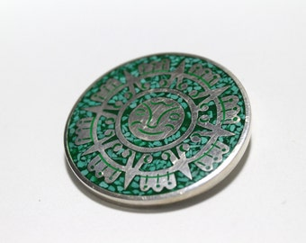 Sterling Silver and Genuine Turquoise Sun Dial Face Brooch Pendant