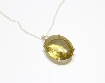 Yellow Vintage Glass Pendant in Sterling Silver