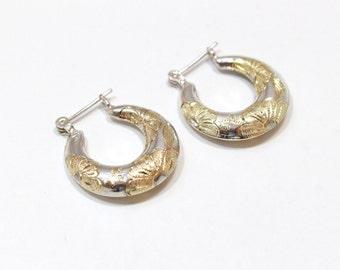 Vintage Two Tone Diamond Cut Hoop Earrings Sterling Silver 925 with 14k Vermeil Designs