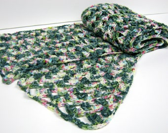 ZANGARMARSH Superwash Merino Hand Dyed Wide Crochet Lacy Scarf