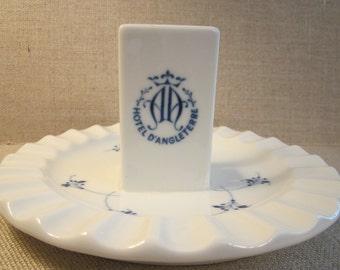 Rare Hotel D'Angleterre Ashtray - 1950s Denmark Bing and Grondahl - B&G Danish Blue White Porcelain - Built in Matchbook Holder and Striker