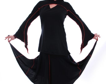 Santosh Skirt ~ Long Black Skirt ~ Made to Measure ~ Cotton Jersey ~ Together we celebrate our inner Goddess ~ technodolly