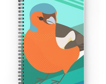 Notebook with Chaffinch Bird Illustration Cover and Spiral Binding