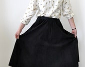 Black Suede Midi High-Waisted Skirt