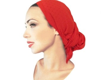 Tichel, Hair Snood, Head Scarf, Pre Tied Bandana, Chemo Hat, Chemo Cap, Snood: Ruby Red Eyelet Long. . . 034