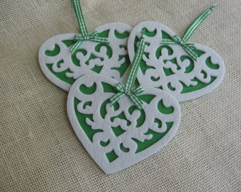 Heart Felt Ornaments, Set of THREE, Cottage Chic, Victorian Heart Ornaments, Christmas Green Tree Decor, Heart Decor, Holiday SnowNoseCrafts