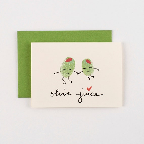 Olive Juice Olives Valentines Love Greeting Card