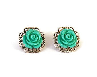 GREEN Resin Flower Earrings, Antique Silver Filigree Base, Rose Flower, Hypoallergenic Surgical Steel Posts - Qty 1, Pair Stud Earrings