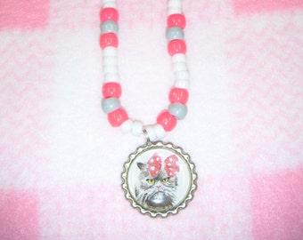 Kitty Bottle Cap Necklace