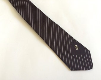 1970s tie / mens tie / striped tie / retro tie / monogramed R / personalized / fathers day gift / hipster accessories