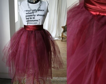 Party Dance Fairy Ballerina Irregular Translucent TuTu Mesh Tulle Calf length Skirt Scarlet
