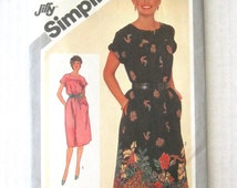 1980s Pullover Dress Pattern, Simplicity 9827, Womens Easy Muu Muu Pattern, Yoke, Short Cuffed Sleeves, Size 10 Bust 32.5 UNCUT