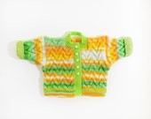 Knitted Baby Jacket - Green, White, Orange, Yellow, 0 - 6 months