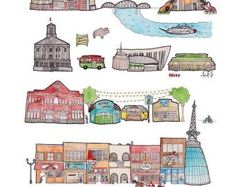 Nashville Music City Print 8.5 x 10