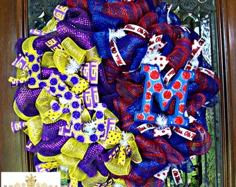 Deco Mesh LSU and Ole Miss House Divided Wreath