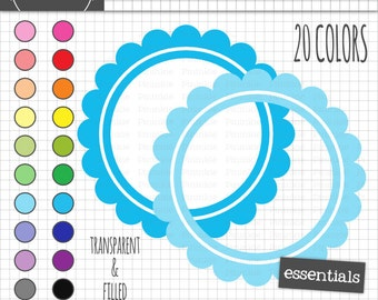 Scalloped Digital Labels, Circle Digital Frame Clipart, Journaling Label, Instant Download, Commercial Use