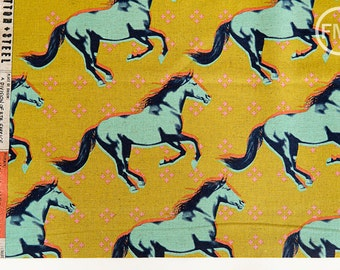 Mustang CANVAS Gallop in Mustard, Melody Miller, Cotton+Steel, RJR Fabrics, Cotton and Linen Blend Canvas Fabric, 0008-022