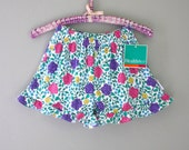 90s High Waist Booty Shorts / Ruffle Shorts / Neon Floral Print / Tap Pants / New Old Stock / Original Tag Attached