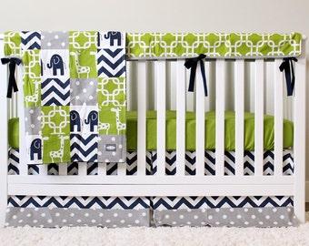 boy nursery crib bedding set baby cribset lime green navy blue gray